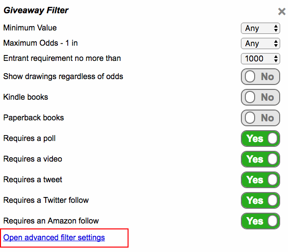 Advanced filter settings